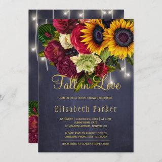 Fall in love rustic sunflower roses bridal shower invitation