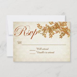 Fall In Love Rustic Wedding RSVP Card