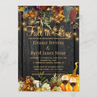 Fall in Love rustic wood floral engagement party