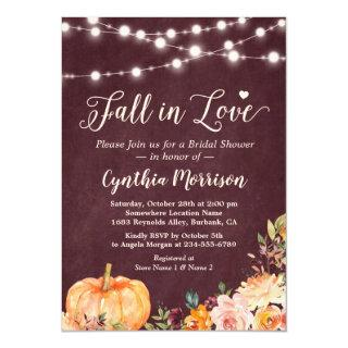 Fall in Love String Lights Floral Bridal Shower Invitations