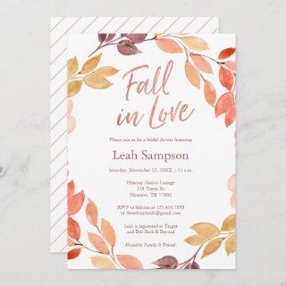 Fall in Love watercolor leaves bridal shower