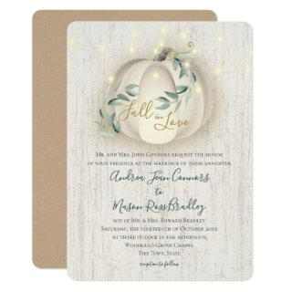 Fall in Love White Pumpkin & Lights Rustic Wedding Invitations