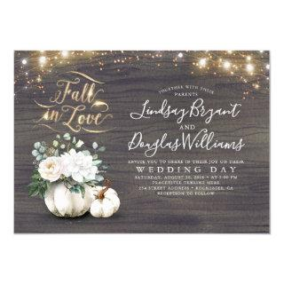 Fall in Love White Pumpkin Rustic Fall Wedding Invitations