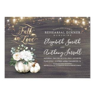 Fall in Love White Pumpkin Rustic Rehearsal Dinner Invitations