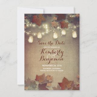 Fall Leaves and Rustic Mason Jars Save the Date