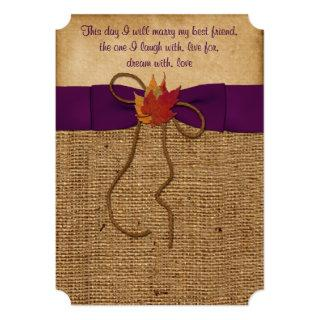 Fall Leaves FAUX Burlap, Wedding Invite - Purple