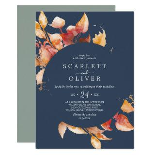 Fall Leaves | Navy Blue & Burgundy Casual Wedding Invitation