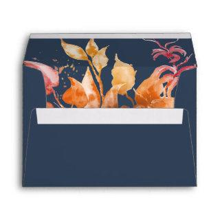 Fall Leaves | Navy Blue & Burgundy Invitations Envelope