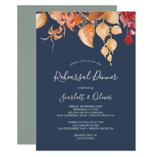 Fall Leaves Navy Blue & Burgundy Rehearsal Dinner Invitation