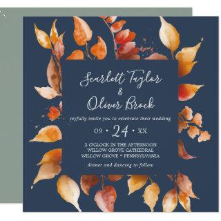 Fall Leaves | Navy Blue & Burgundy Square Wedding Invitation