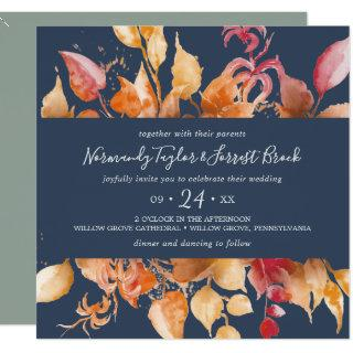 Fall Leaves | Navy Blue Casual Square Wedding Invitation