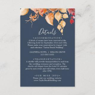 Fall Leaves | Navy Blue Details Enclosure Card