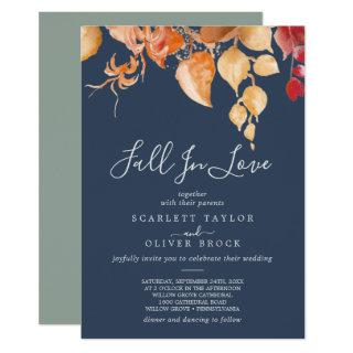 Fall Leaves | Navy Blue Fall In Love Wedding Invitations