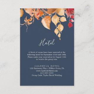 Fall Leaves | Navy Blue Hotel Enclosure Card