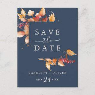 Fall Leaves | Navy Blue Save the Date Postcard