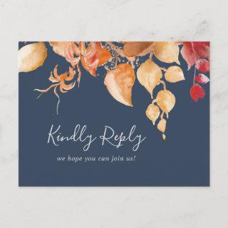 Fall Leaves | Navy Blue Song Request RSVP Postcard
