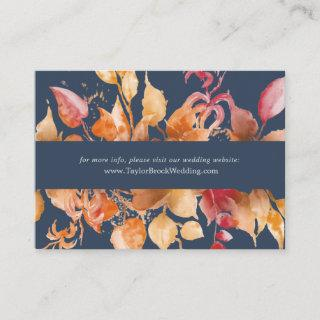 Fall Leaves | Navy Blue Wedding Website Enclosure Card