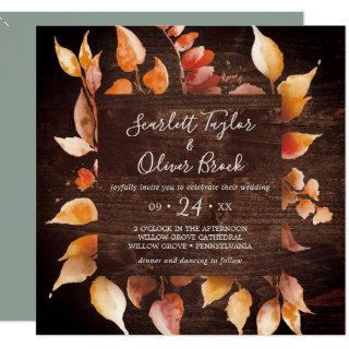 Fall Leaves | Rustic Brown Wood Square Wedding Invitations