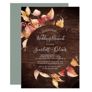 Fall Leaves | Rustic Brown Wood Wedding Brunch Invitations