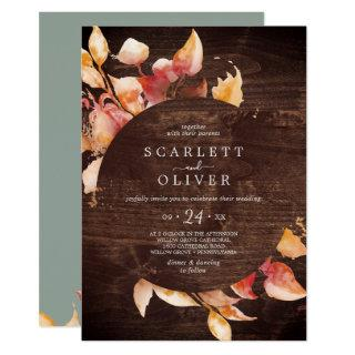Fall Leaves | Rustic with Details on Back Wedding Invitation