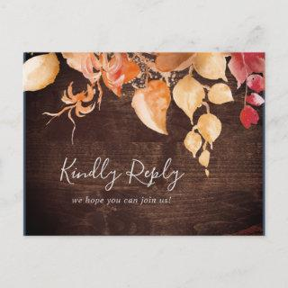 Fall Leaves Rustic Wood Menu Choice RSVP Postcard