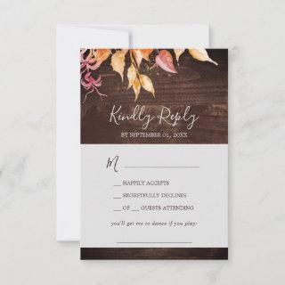 Fall Leaves | Rustic Wood Song Request RSVP Card