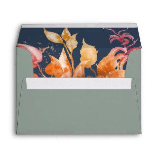 Fall Leaves | Sage Green & Navy Blue Invitations Envelope