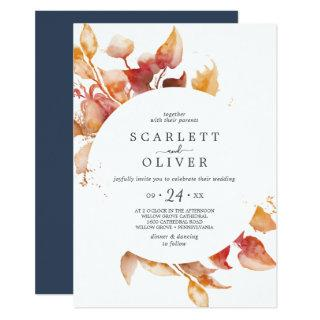 Fall Leaves | White & Burgundy Casual Wedding Invitations