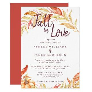 Fall Love Golden Foliage Autumn Red Wedding Invitations