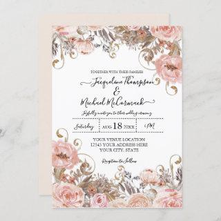 Fall Muted Blush Pink Watercolor Floral Rose Gold Invitations
