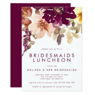 Fall Plum Floral Bridesmaids Luncheon Invitations