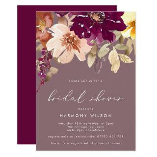 Fall Plum Watercolor Floral Bridal Shower Invitation