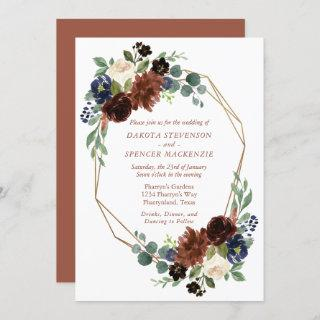 Fall Rustic Floral | Burnt Orange Gold Geometric Invitation