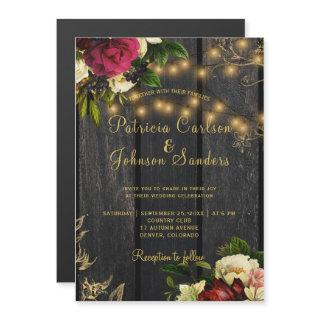 Fall rustic wood and string lights floral wedding magnetic invitation