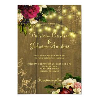 Fall rustic wood and twinkle lights floral wedding Invitations
