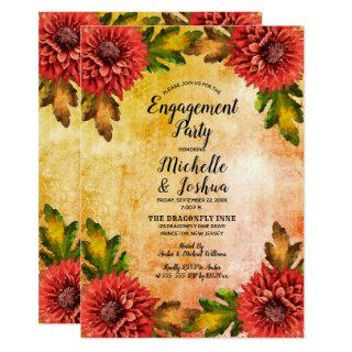 Fall Watercolor Floral Mums Engagement Party Invitations