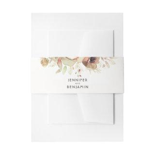 Fall Watercolor Flowers Vintage Wedding Invitations Belly Band
