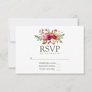 Fall Wedding Floral RSVP Card