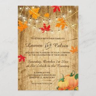 Fall wedding Invitations with leaves and pumpkins