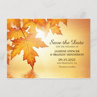 Fall Wedding Save The Date Card With Orange Leaves
