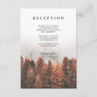 Fall winter pine trees forest photo chic reception enclosure card