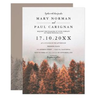 Fall winter pine trees forest photo chic wedding invitation