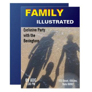 Family Beach Party Fake News Faux Magazine Cover Invitation