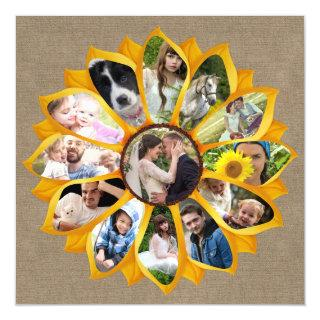 Family Photo Collage Sunflower Burlap 13 Pics Easy Magnetic Invitation