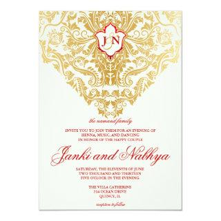 Fancy Flourishes Golden Indian Arabic Wedding Invitations