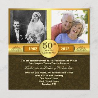 fancy golden 50 anniversary photo invitations
