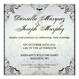 Fancy Gothic Bats Halloween Wedding Invitations