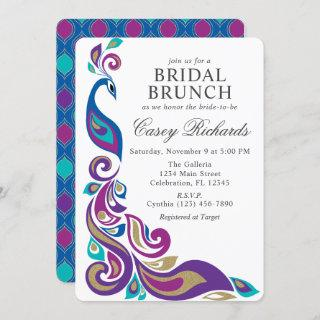 Fancy Peacock Purple and Teal Bridal Shower Invitations