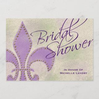 Fancy Script Purple Fleur de Lis Bridal Shower Invitations