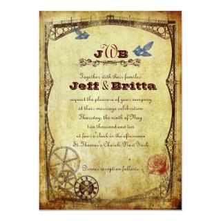 Faux Antique Gold Victorian Steampunk Wedding Invitations